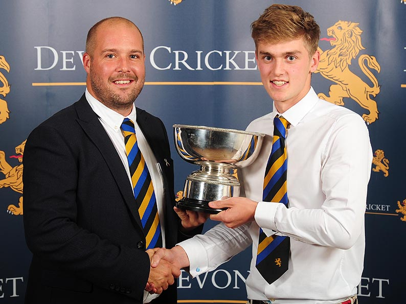 Sandy Allen presents Tom Lammonby with the Buller Bowl<br>credit: http://www.ppauk.com/event/Devon-Youth-Cricket-Awards-Exeter-UK-6-Oct-2017/