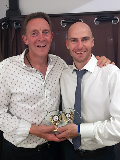 Martin Causey (left) with 1st XI skipper and award winner Ashley Berry
