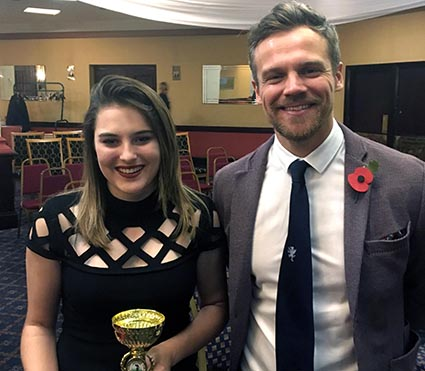 Girls' player of the year Emily Martin and presentor Jamie Hildreth
