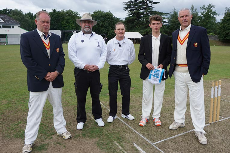 Left to right are Pete Sanderson (SDCC coach), umpires Pete Jolliffe and Phil Mallett, SDCC skipper Will Christophers and MCC captain Alex Harris