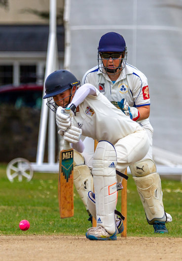 Exeter batting against Topsham St James in the Group B festival day at Bovey Tracey | Photo: Mark Lockett