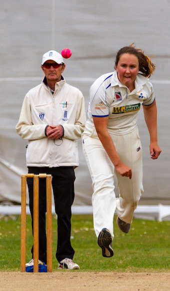 Topsham bowling in the game against Exeter | Photo: Mark Lockett
