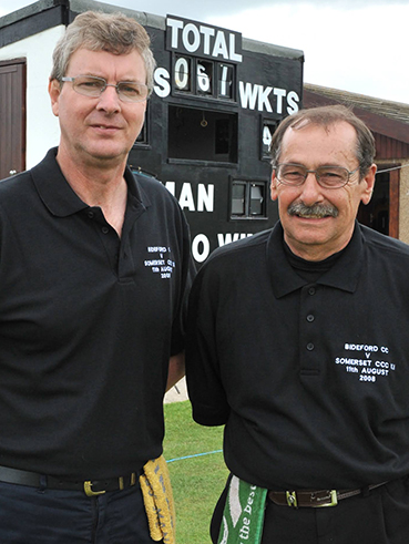 Vic Gainey (right) and colleague Jack Neville (left) who umpired the Marcus Trescothick benefit game at Bideford back in 2008