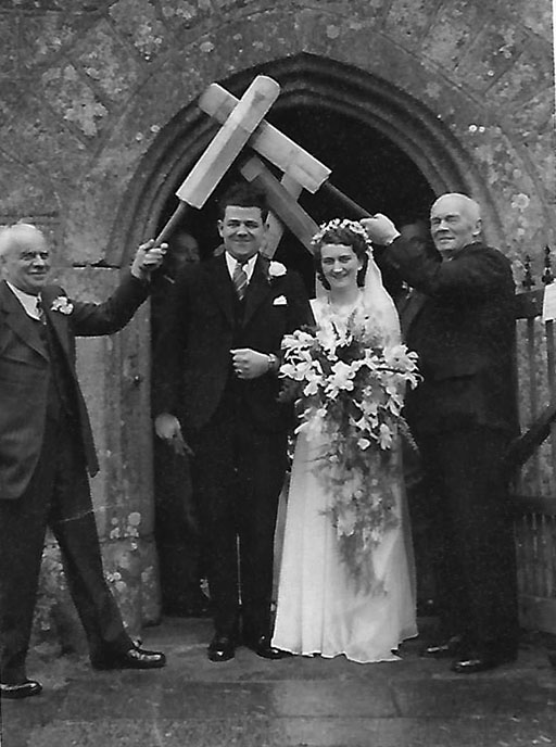 Stuart Mountford and his new bride Doris emerging from St John's Church, Lustleigh on Easter Monday 1940 as man and wife
