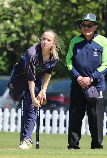 Becca Silk on her way to a five-wicket haul against Worcestershire
