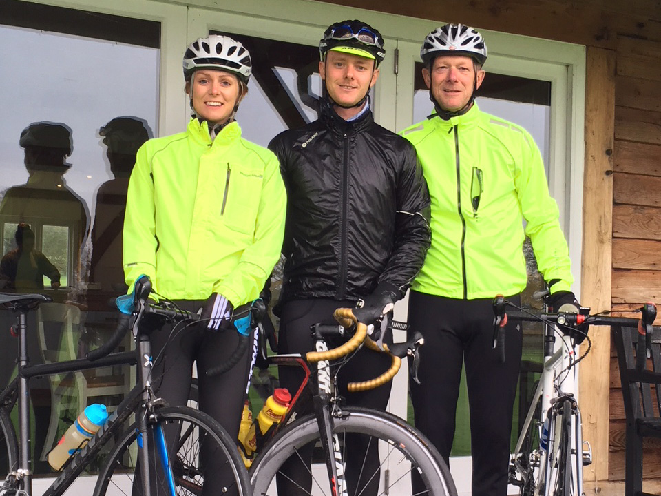 Sam Wyatt-Haines flanked by sister Emma (left) and father Richard (right) about to set off from Heathcoat CC