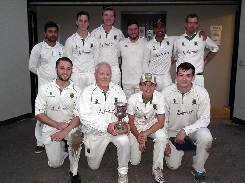 Winning skipper Stuart Mansfield and his team with the P&D League Cup