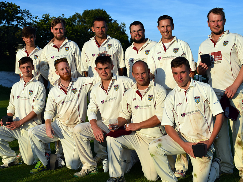 The Seaton team after winning the Corinthian Cup. Back (left to right): Kersley Sutton, Chris Aplin, Brian Cann, Phil Collins, Matt Hewer, Joel Seward. Front: Tim Mitchell, Steve Pritchard, Josh Cann, Ben Morgan, Ollie Pinnock<br>credit: Conrad Sutcliffe