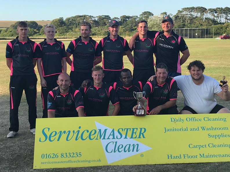 Flashback! Exmouth celebrating their win over North Devon in the 2018 Servicemaster Clear Devon T20 Cup final at Budleigh Salterton