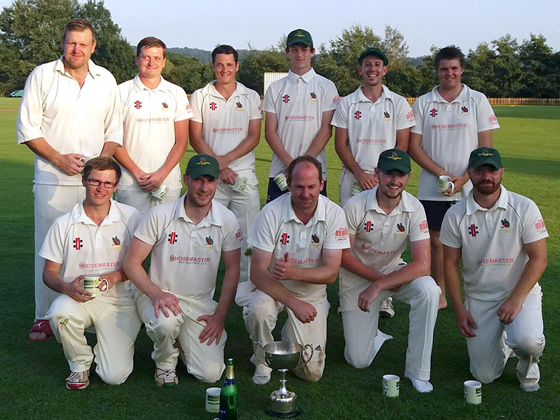 Whimple captain Ben Silk surrounded by his cup winning team