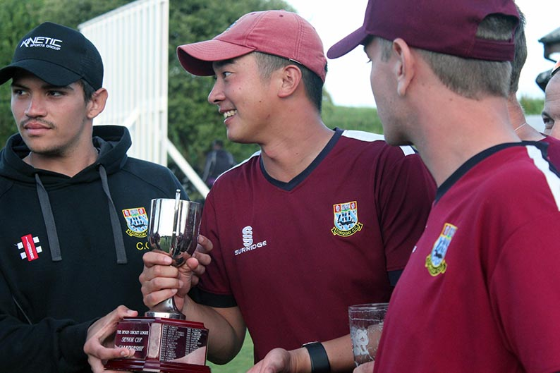 Torqua skipper Justin Yau with the Servicemaster Devon T20 Cup<br>credit: Greg Evans