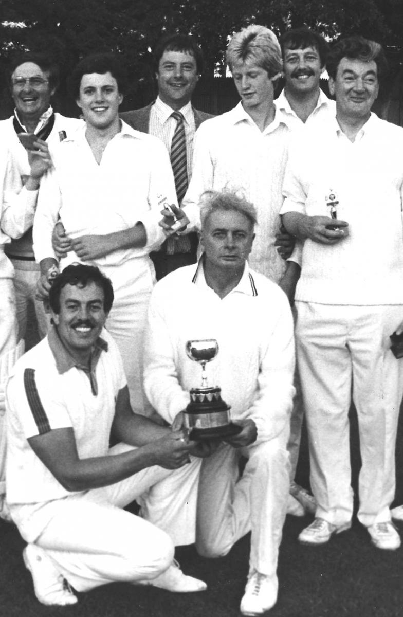 A youthful Paul Mitchell (second from left) in the 1982 Brockman Cup-winning side. Bill Webster is holding the cup