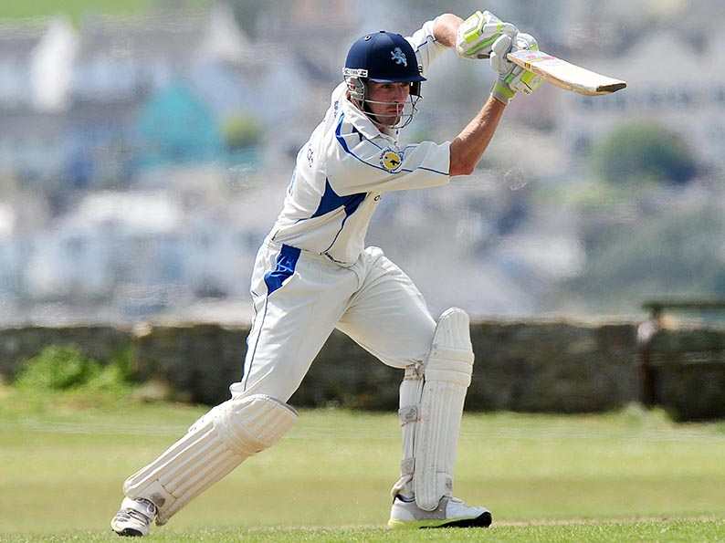 Josh Bess on his way to a half century against Dorset at Instow. Photo: Tom Sandberg www.ppauk.com