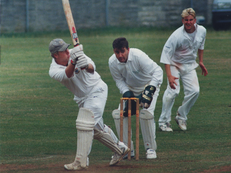 Flashback! Nigel Mountford keeping wicket for Bovey Tracey against Torquay. The batsman is Marcus Green