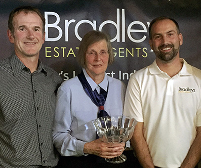 Peter Howard Award winner Sheila Harding flanked by league chairman Robert Bradshaw-Smith and Kai Logan of Bradleys