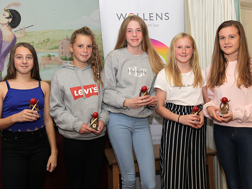 Paignton U13 Girls, who were runners-up to Bovey Tracey in their division. They are Ella Clark, Norah Robertson, Isobel Brown, Charlotte Taylor and Isabella Ashford<br>credit: Andrew Uglow / pyramidtorbay
