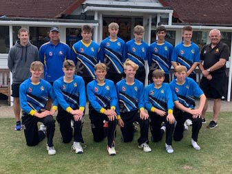 Chris Read (far left, back row) with the Devon U15 team at Seaton during the closing game of the season, which was against his former county Notts<br>credit: Contributed